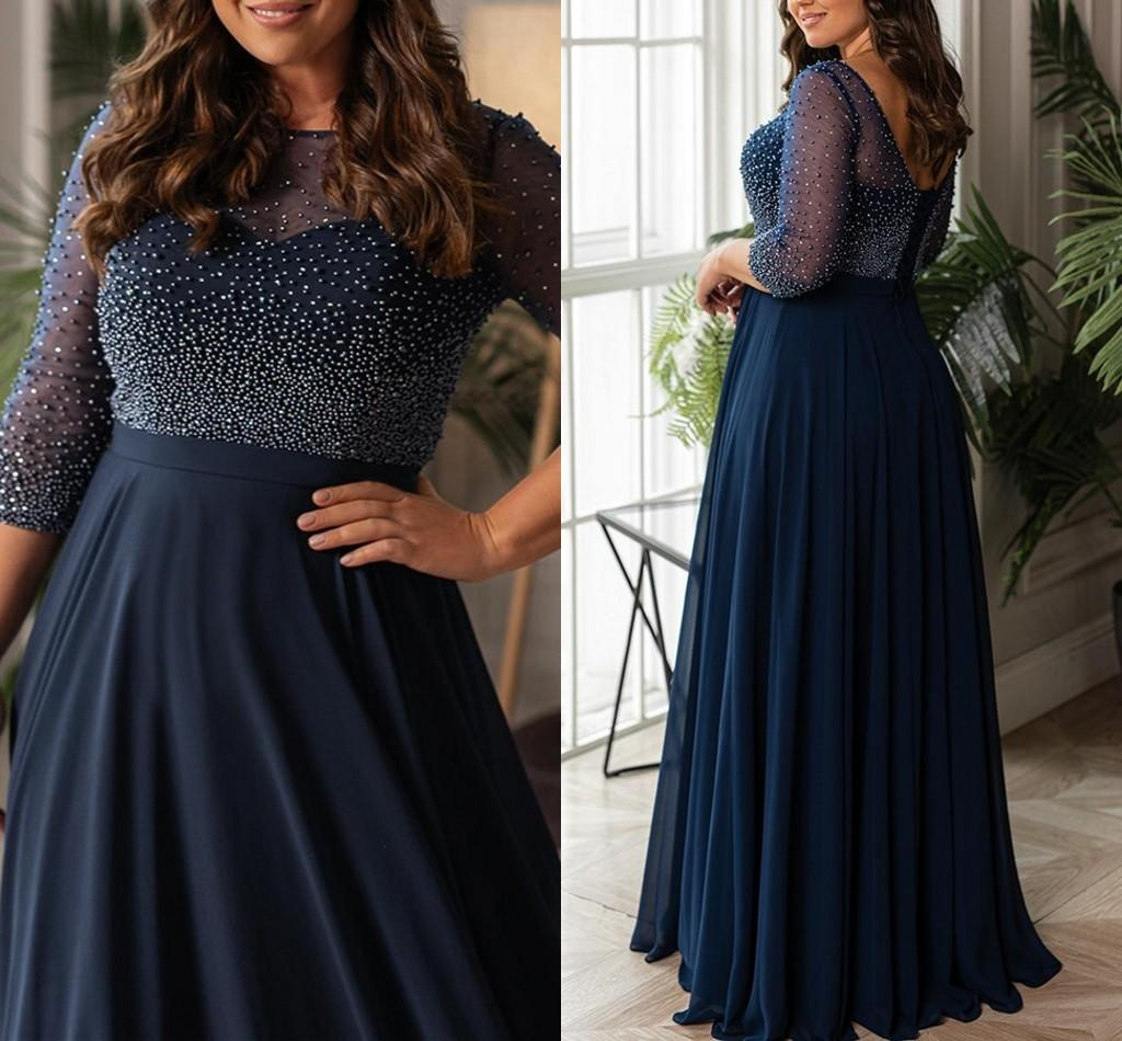 Elegant Chiffon Pearls Beaded Evening Dresses Bateau Neck A Line Long Sleeves Evening Party Gowns Floor Length Formal Prom Dress