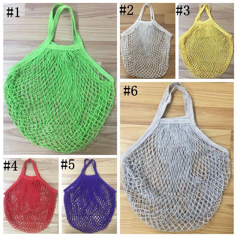 Шоппинг-продуктовый мешок многоразовый покупатель Tote Fishing Net Большой размер сетки чистые тканые хлопковые сумки портативные покупки сумки для домашнего хранения сумки OWC4057