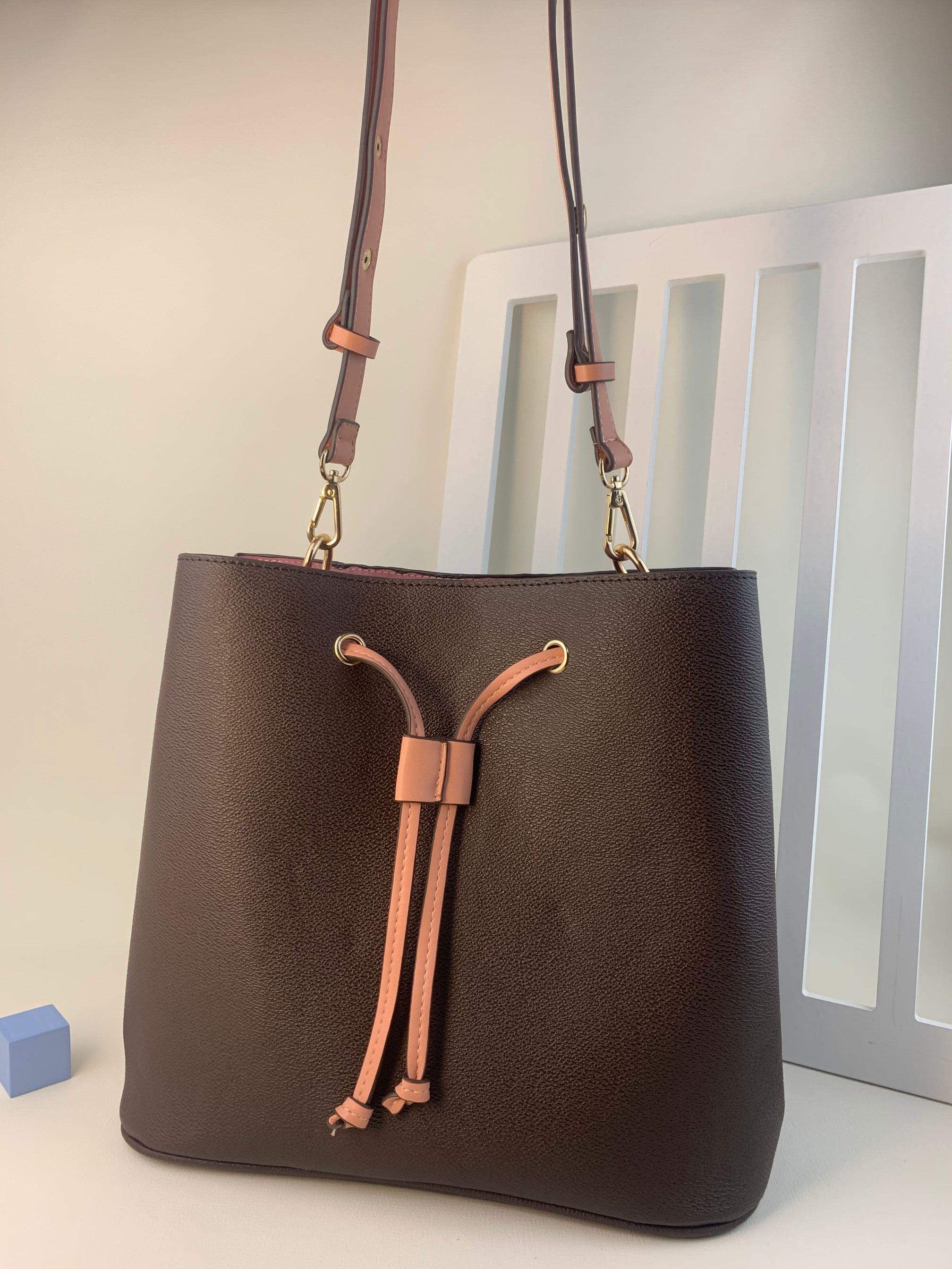 Casa estilo clássico feminino balde bolsas de ombro escale neonoe saco crossbody bolsas de couro genuíno Ajustável cinta nova moda sacos bolsa