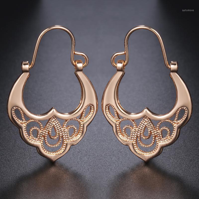 Davieslee 585 Розовые Золотые Женские Серьги Серьги Серьги Для Женщин Цветочный Узор Мода Девушки Подарки 2020 DGE1931