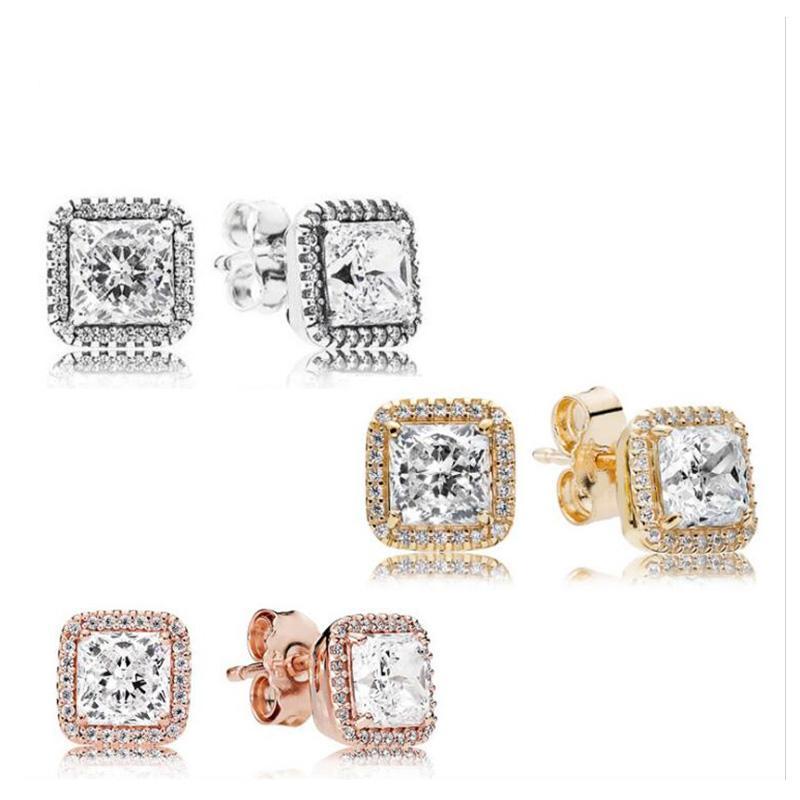 Kare CZ Elmas Taş Saplama Küpe O Kutusu Set için 925 Gümüş 18 K Altın Gül Altın Kaplama Düğün Küpe Kadınlar Için