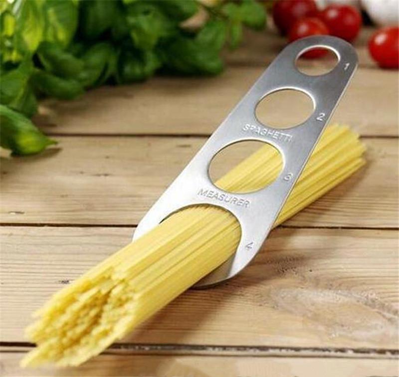 Nouveaux Pâtes Spaghetti Pâtes Spaghetti Mesures Stick Silver 4 Puits Nouilles Mesure Stick Stick Mesureur Home Cuisine Outil WQ682
