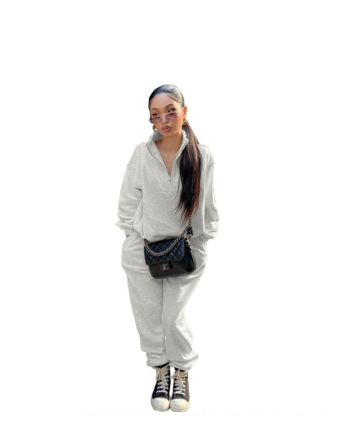 9Tms Женские трексескигики рукавные два штуки набор уличные одежды плиссированные брюки V-образным вырезом длинные 2 дамы сплошной цвет одежды новых модных брюк наряды CL