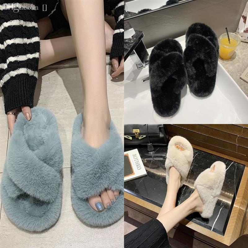1Jeuv Mode Designer Hohe Qualität Frauen flache pelzige Rutsche Winter Flauschige Hausschuhe Slipper Warme Komfortable Fuzzy Mädchen Flip Flops Hausschuhe