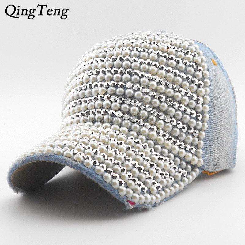 Pearl Rhinestone Moda Béisbol gorra Brim Mujer Snapback Hats Denim Jeans Hip Hop Mujeres Vaquero Lujo Casquette Béisbol Y1130