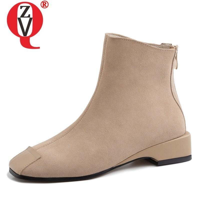 Çizmeler ZVQ Kadın Ayakkabı 2021 İlkbahar Sonbahar Muhtasar Rahat İnek Süet Ayak Bileği Dışında Rahat Kare Toe Fermuar Bayanlar