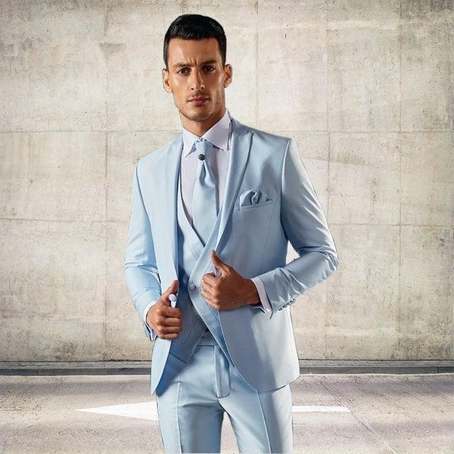 Son Coat Pantolon Dar Kesim 3 parça Damat Smokin Özel Moda Balo Blazer Terno masculino İtalyan Açık Mavi Erkekler Suit Tasarımları