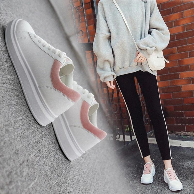 Chaussures de tennis blanches pour femmes Femme classique Toutes les saisons à lacets à lacets à plat avec Sneakers PU cuir imperméable chaussures décontractées femme # zb0t