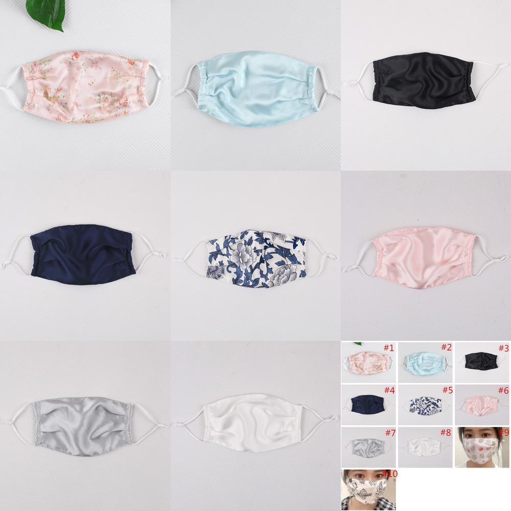 Güneşe dayanıklı baskı moda ipek yüz toz geçirmez maske çiçek maskeleri kadınlar yaz ince ağız 5NU51