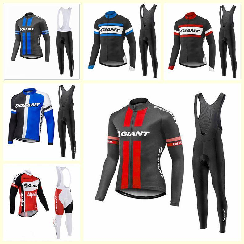 GIANT team Cycling long Sleeves jersey bib pants sets men thin Ropa Ciclismo quick-dry MTB bicycle clothes U121003