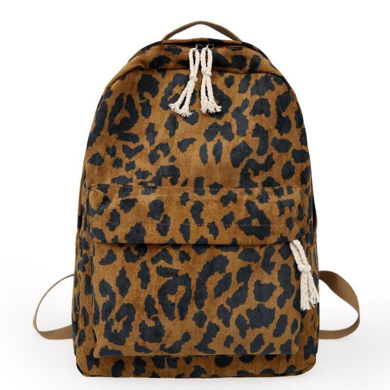 Mode weibliche Rucksack Leoparden-Druck-Cord-Schnur-Dual-Riemen-Frauenreise Große Kapazität Mädchen Schule Schultertasche Mochila Mujer A1113