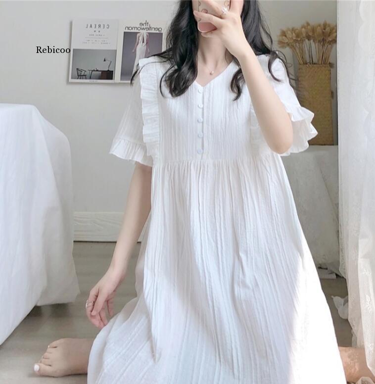 V-cou explosion chemise de nuit blanche jupe rouge net peut être porté à l'extérieur robe de nuit en coton peignoir service maison d'été femme