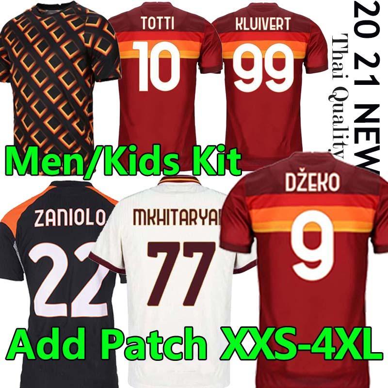 Futbol Forması Zaniolo Roma Dzeko Pastore Roma Totti Kluivert Kolarov 20 21 Futbol Gömlek 2020 2021 Erkekler + Çocuk Kiti Üniforma Maillot Üçüncü