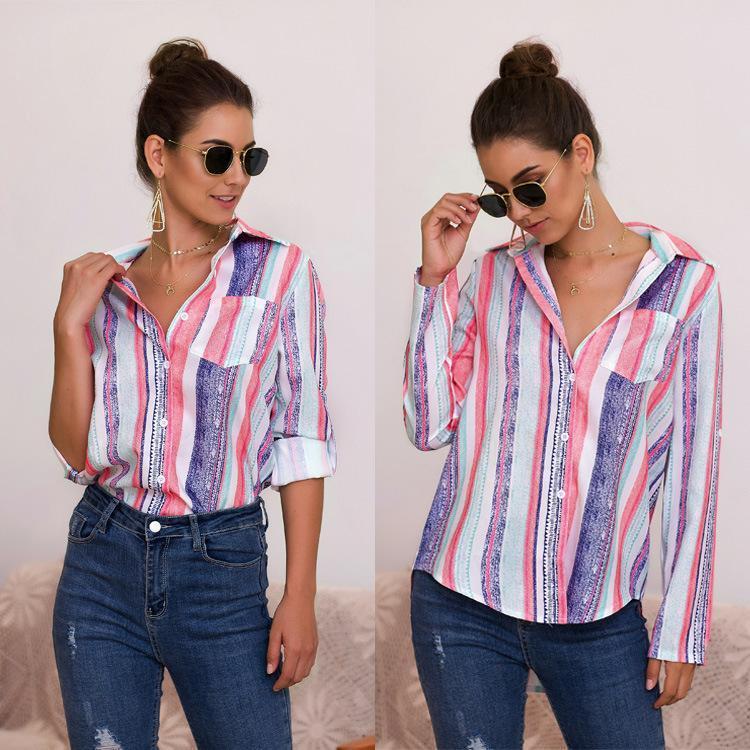 Kadın Bluz Gömlek Moda Kadınlar Bluz Gevşek Uzun Kollu Çizgili Down Yaka Kadın Üst Blusas Mujer de Moda Tallas Grandes