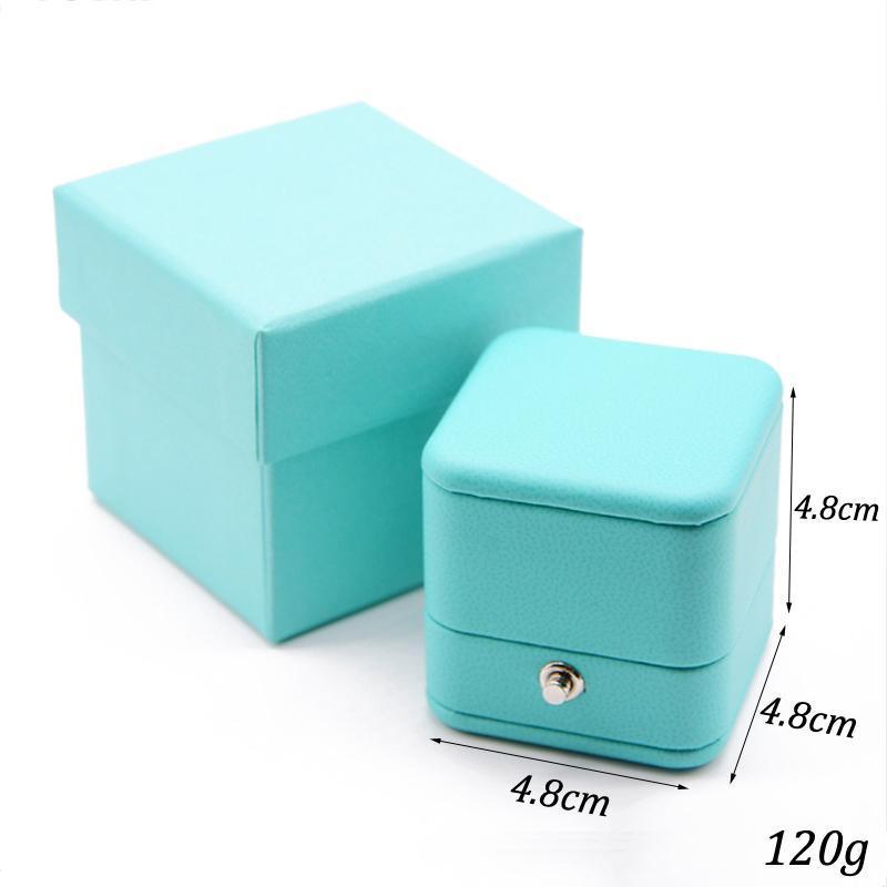 Venta caliente Romántico azul joyería de cuero caja de regalo caja de anillo anillo anillo envasado almacenamiento organizador de almacenamiento para la boda propone