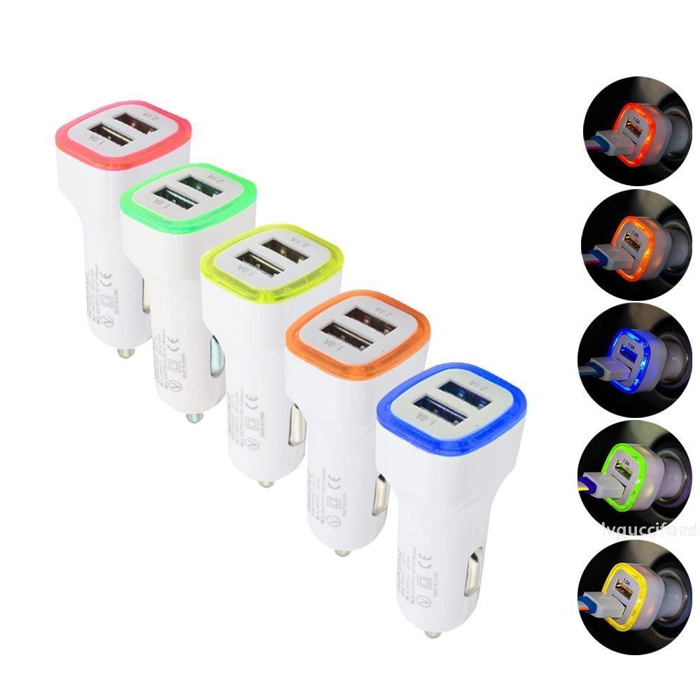 Cargador de coche universal USB portátil LED dual 5V / 2.1A / 1A 2 Puerto del adaptador de enchufe del encendedor para dispositivos iPhone X Samsung S9 tableta inteligentes