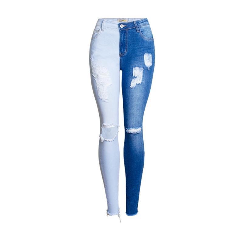 Мода тощий разорванный стиль женщины 2020 весна осень контрастность цвета тонкие джинсы для женщин джинсовые брюки плюс размер 4xL K325
