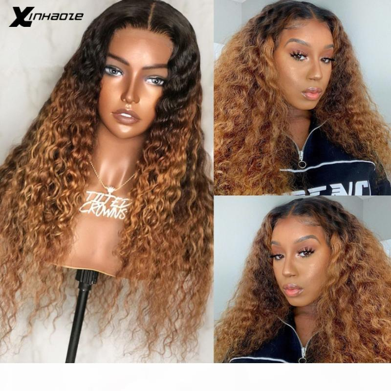 Brazilian Deep Curly Lace Front Wigs With Baby Hair Density180 #1bT30 Remy Hair 13x6x1 T Part Human Lace Front Wig