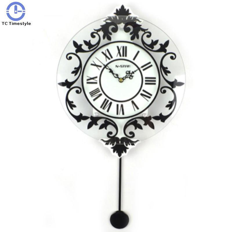 Современные декоративные европейские бесшумные качели кулон настенные часы мода творческая гостиная спальня подвеска личности