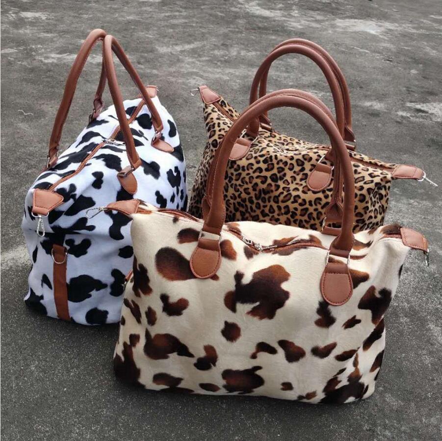 Capacidad de leopardo Imprimir Bolso Grande Yoga Maternidad Viajes Bolsas deportivas Fin de semana Mujeres Totes de almacenamiento Bolsa de vaca DDA827 VCWXC