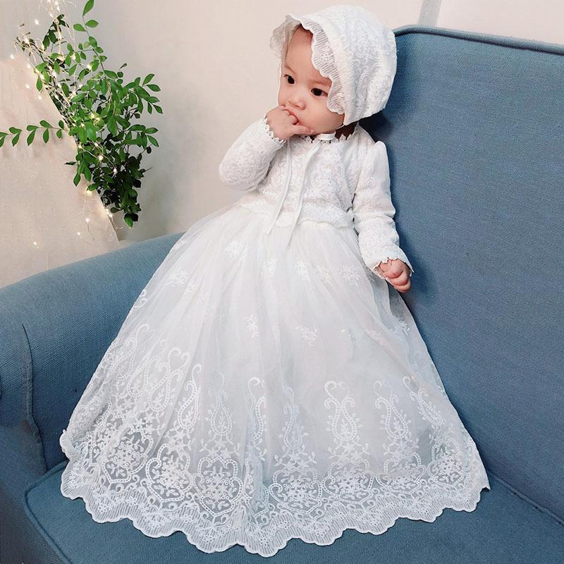 Baby Girls White Baptism Dress Bebe Long Sleeve Birthday Embroidery Vintage Dress Mesh Christening Gown with Hat for Newborn 12M F1130