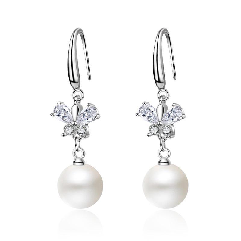 Butterfly Orecchini pendenti in cristallo Bianco Intarsi in cristallo Nuova semplicità Gioielli Donna orecchio Pendants Regali da sposa 4 9By K2