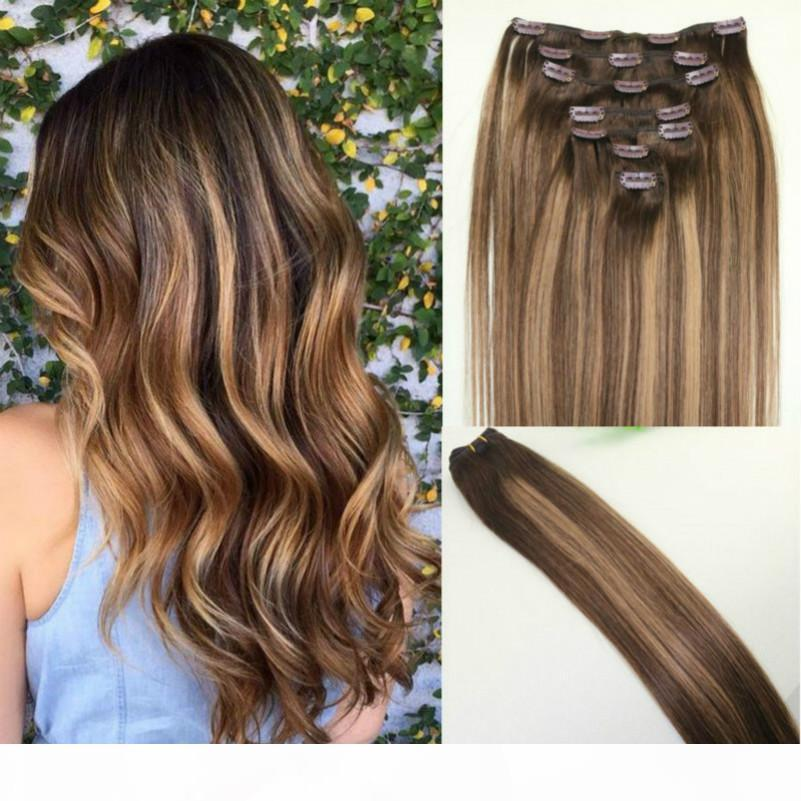 Ombre # 4 # 27Alayage Color clip in estensione dei capelli Vergine brasiliana Non trasformata capelli remy umani con riflessi di buona qualità