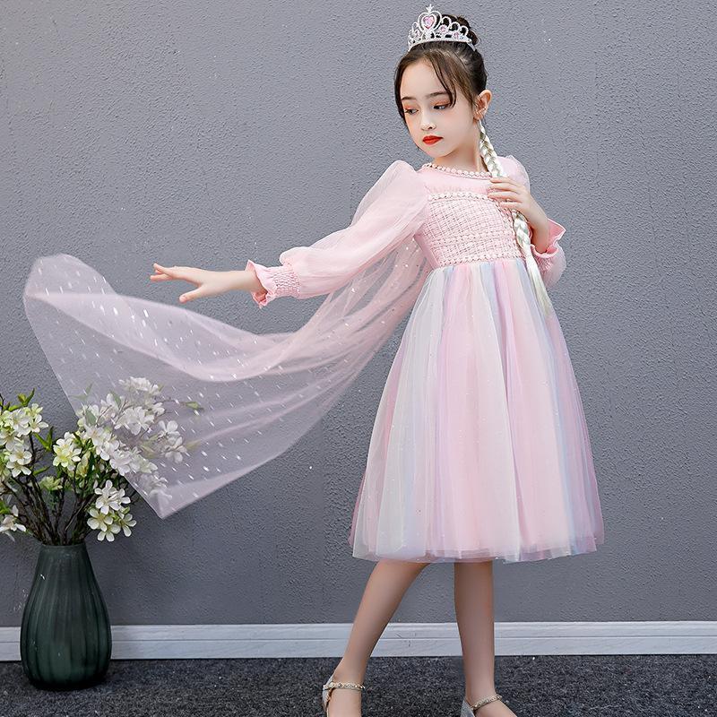 Этническая одежда сладкое цветок девушка платье для свадьбы вечеринка девушки радуга туту принцесса детей выполняют платья платья танцевальная одежда косплей