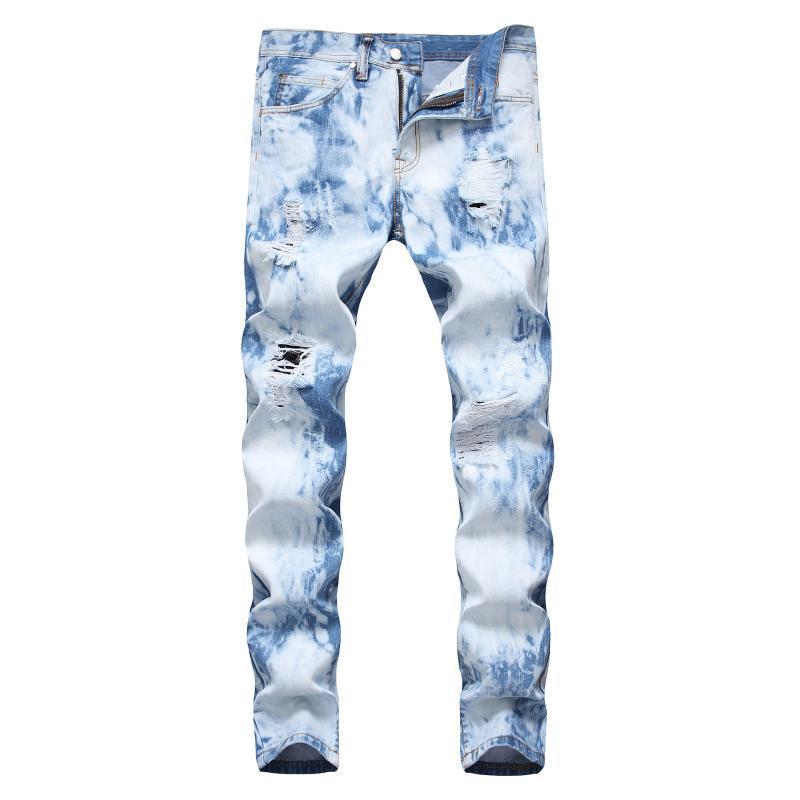 Leosoxs High Street Hombres Jeans Hole Blanqueado Straight Casual Fashion Denim Denim Hombre Ripe Vintage Tide Longitud