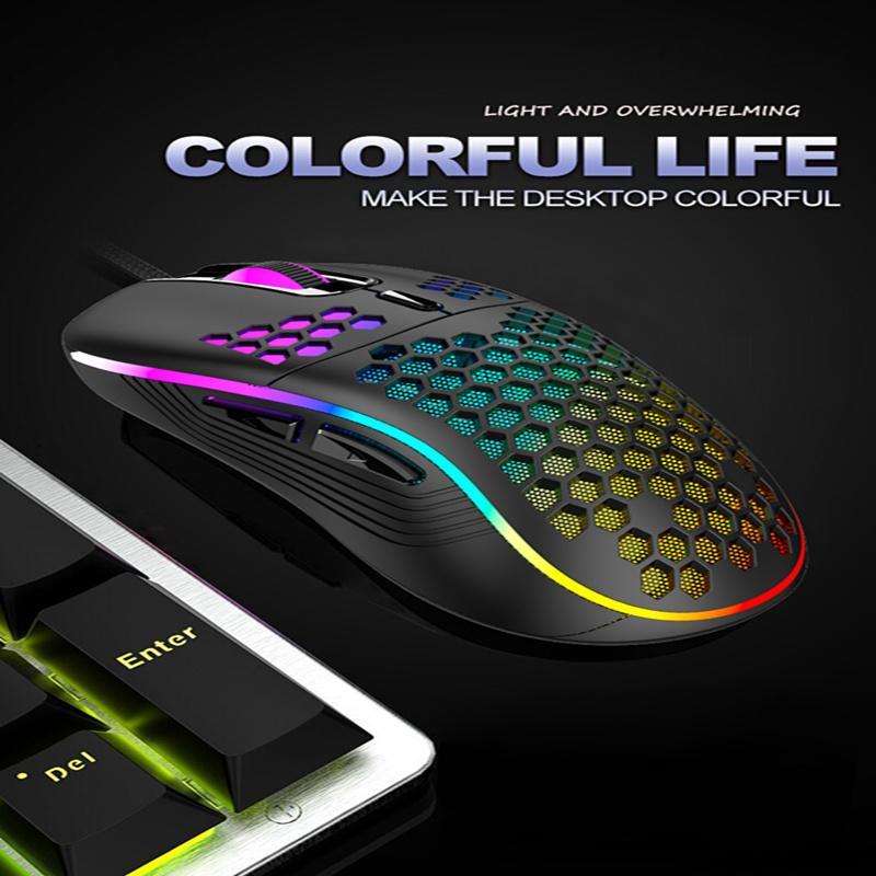 원래 RGB USB 유선 게임 마우스 4800DPI 6Buttons LED 광학 전문 마우스 게이머 마우스 Pclaptop 게임 마이크 크리스마스 선물