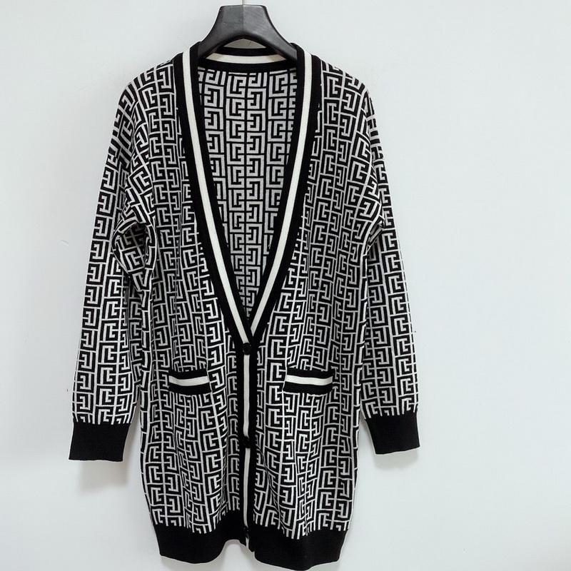 Зима Maxi Cardigan Fende Женщины свитер Шерсть смешанные блузка женские трикотажные одежды Дамы вязаное верхние повседневные пальто V шеи кардиган F формулировка-3