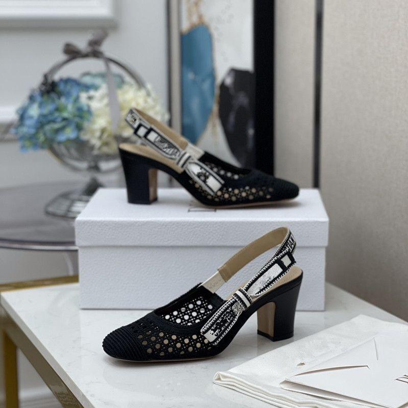 Kadın Ayakkabı Yaz Mesh Yüksek Topuk Sandalet Kayışı Kadın Noktası Burun Ayakkabı Seksi Dantel Noktası Toe Ince Topuk Siyah Ayakkabı Artı Boyutu 42 QS1206