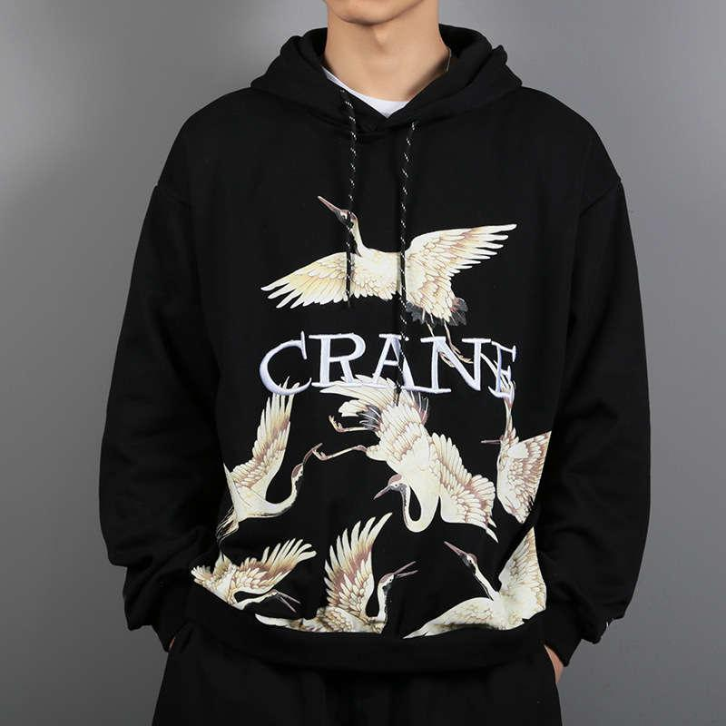 Fall / winter 2019 China Wind needled embroidery trend men's crane printed loose Pullover Hoodie