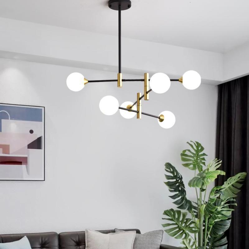 Nordic LED Lustre Modern Line Moléculaire Creative Molecular Verre Boule suspendue Lampe Salon Chambre à coucher Magie Haricots Hang Lights Fixtures