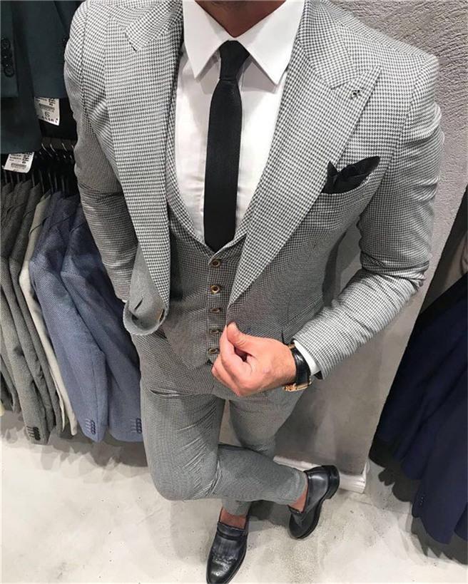 Изготовленные на заказ Groomsmen Houngstooth Groom Tuxedos пик отвороты мужские костюмы свадьба / выпускной / ужин лучший мужчина Blazer (куртка + брюки + галстук + жилет) G99
