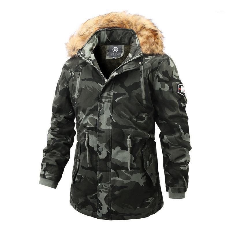 Herren Kleidung Heißer Verkauf Herbst Winter Baumwolle Gepolsterte Jacke Lange Mantel Wollkragen Baumwolle Mantel Boy Camouflage Outcoat1