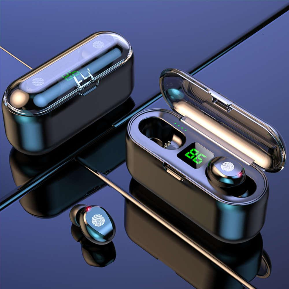 Double microphone écouteurs sans fil F9 TWS casque 9D stéréo musique casque Bluetooth 5.0 tactile Earbud avec boîte de chargement de 1200mAh