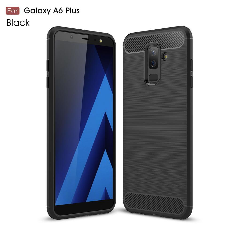 Case Ultra Thin Back Phone Cover For Samsung Galaxy A6 Plus Super Luxury Soft Shockproof Carbon Fiber cases for Galaxy A6 Plus