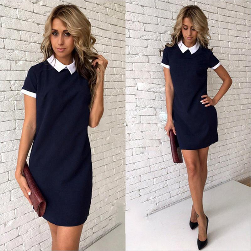 Sexy Frauen Sommerkleid Casual Kurzarm Feste Weibliche Frauen Büro Kurze Kleider Frau Minikleid Vestidos 4 Farbe XL1