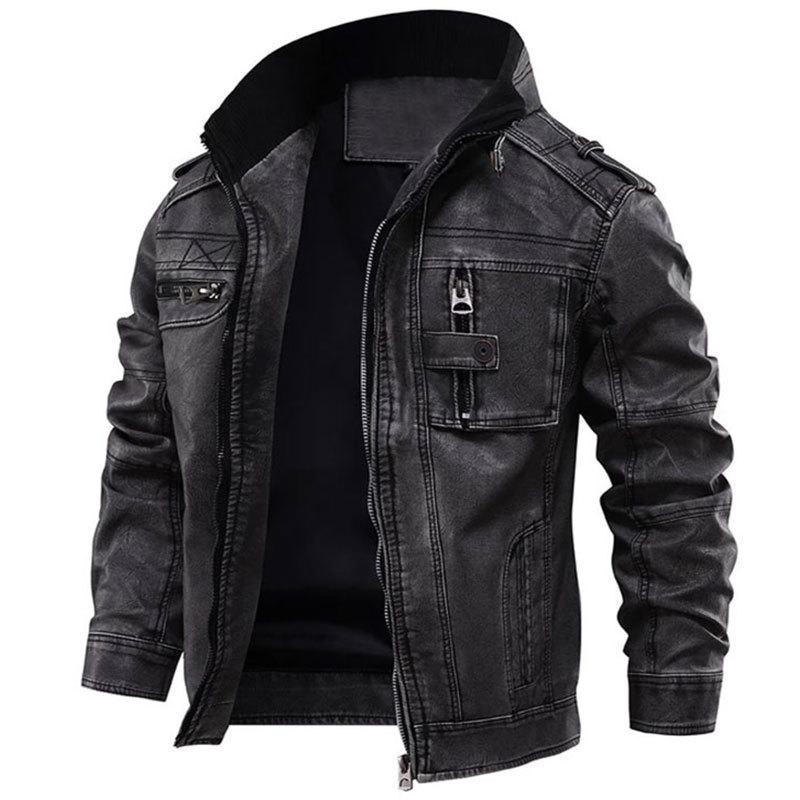 Veste en cuir homme mâle cool moto moto vestes vestes