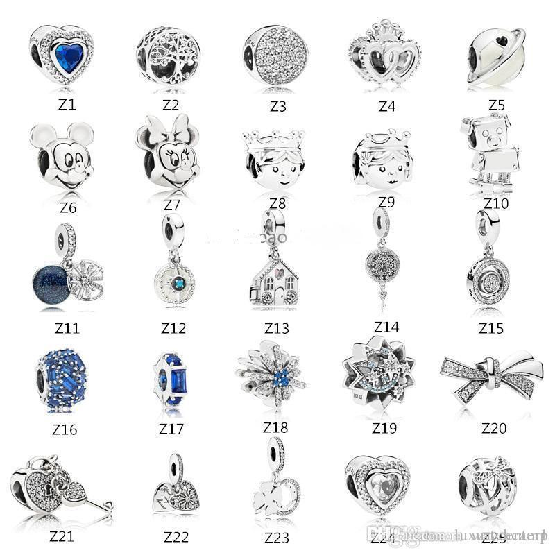 s925 Sterling Silver bead Fits Pandora Bracelet for jewelry make Crystal Dangle Love Beads Charms For European Snake Chain Fashion