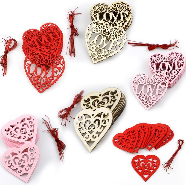 Adornos de amor de madera Decoraciones de la boda Valentines Day Regalos 10 unids / lote Suministros de boda Decoración de fiesta 8cm * 8cm * 0.3cm SN1904