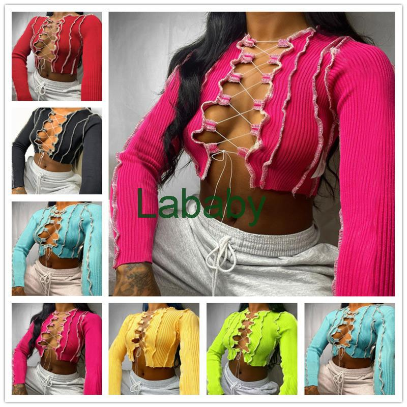 Sexy Women Top Strap Fold Split Fork Breast T-shirt Wrapping Long Sleeve Blouse Fashion Casual Shirts Solid Color 2021