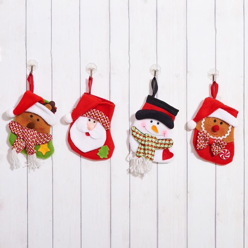 Velho homem boneco de neve ELK Natal Meia Decoração Papai Noel Ornamento Decoração de Partido Santa Natal Estoque Doces Meias Sacos Xmas Presentes Bag Zza