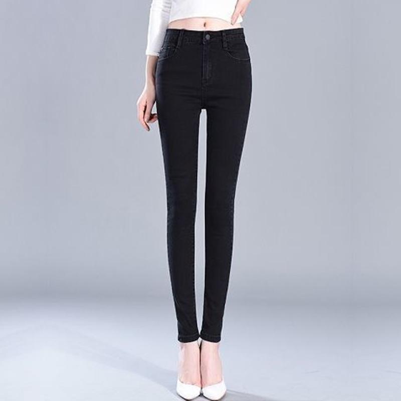 Primavera otoño mujeres elástica jeans femenino suelto casual cintura alta longitud longitud pantalones de lápiz más tamaño pantalón kk0102