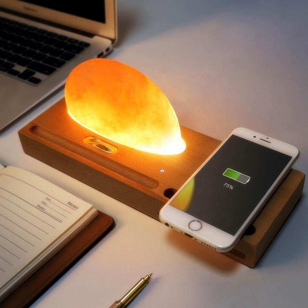 4fds2wsunline 2019 Новый Himalayan Минеральная рок-соль окружающая лампа с QI Беспроводная зарядка, подставка для всех смартфонов