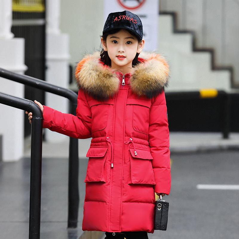 Детский пуховик Детская куртка Девушка средняя длинная детская одежда тяжелый пальто большой детский новый большой меховой воротник тяжелый зимний одежда 201127