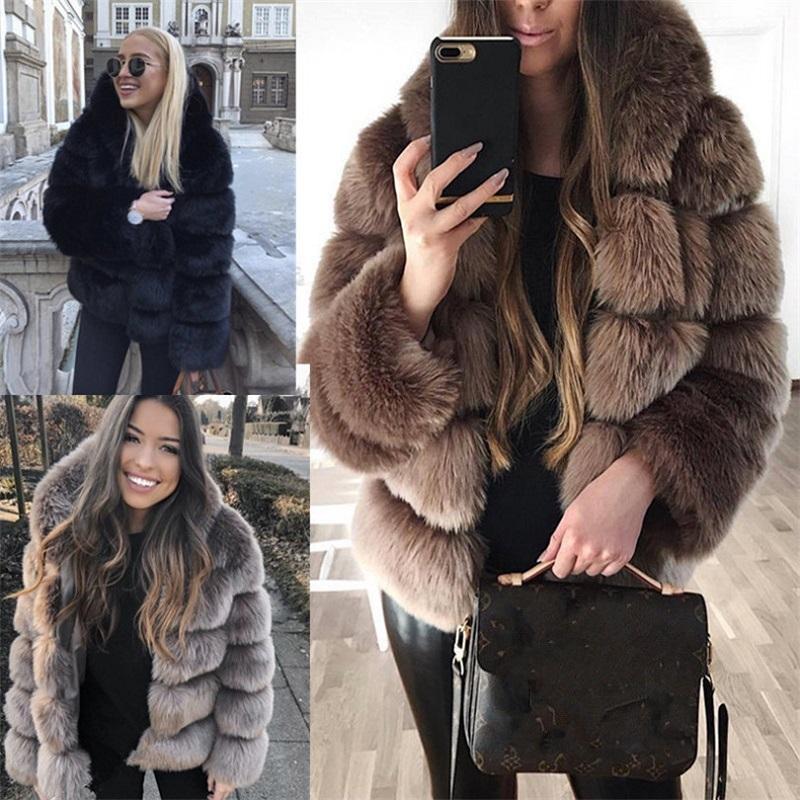 Nouveau style épais fourrure chaude fausse fourrure de fourrure d'hiver femmes femmes noires brun gris foncé gris slin court plus grande taille manteau en cuir et veste Z1205