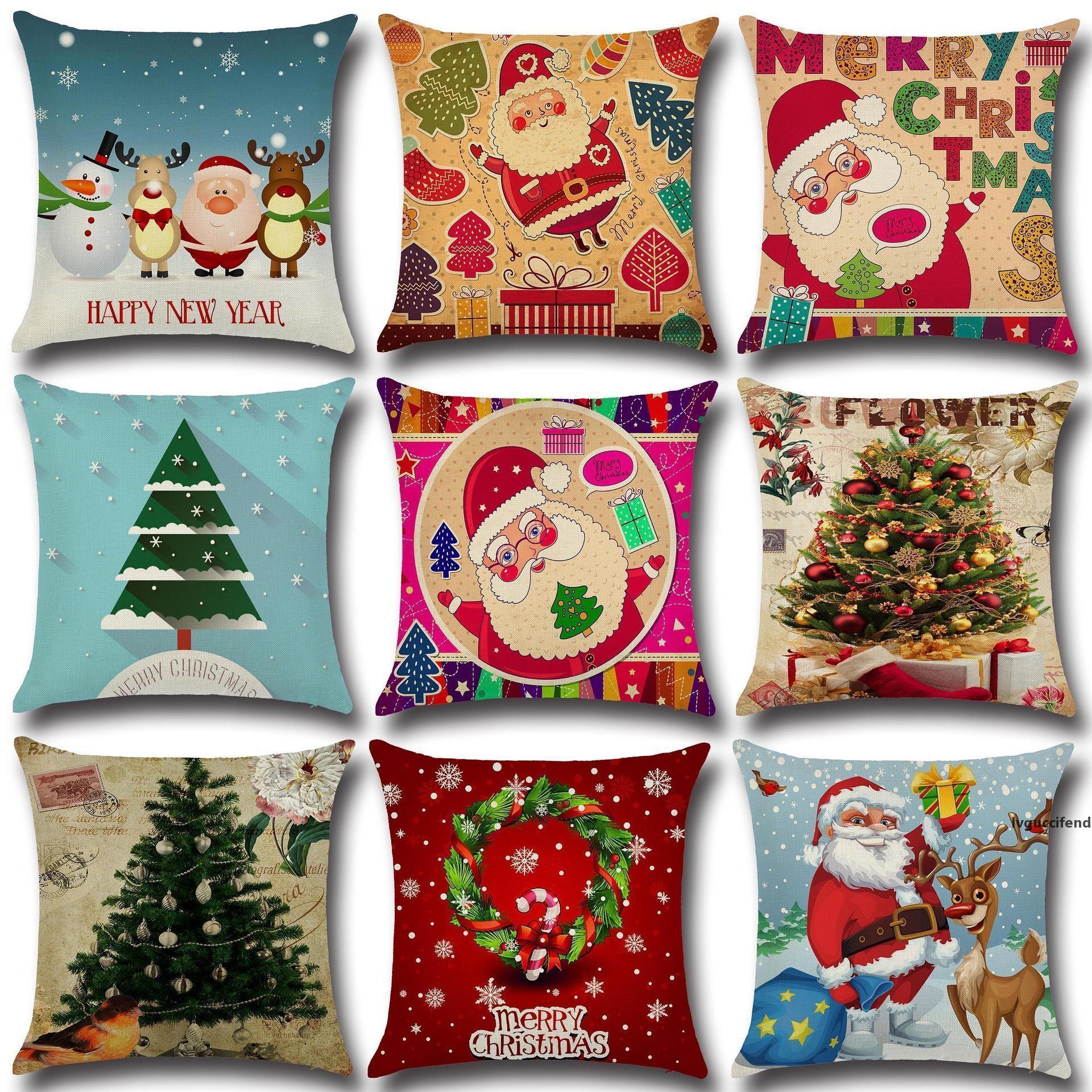 Cubierta de la almohada de Navidad Navidad Ambiente Cuadro de almohada Cuadro Holiday Flax Inicio Regalos de Navidad 18 * 18
