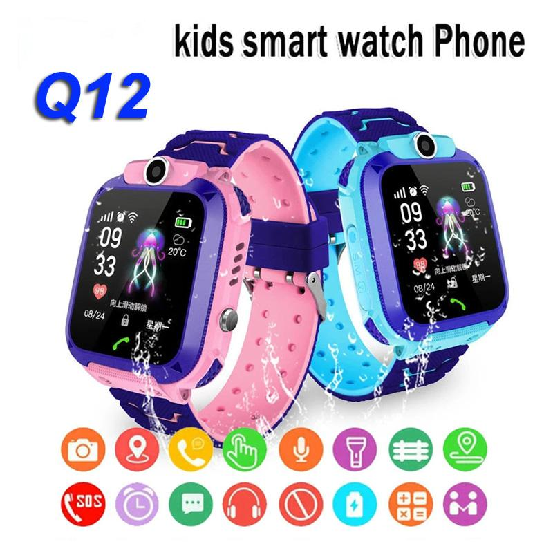Q12 Children Smart Watch SOS Teléfono Watch SmartWatch para niños con tarjeta SIM Photo Impermeable IP67 Niños Regalo para iOS Android